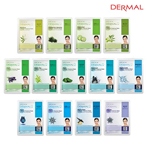 Price comparison product image Dermal Korea Collagen Essence Full Face Facial Mask Sheet 13 Combo Pack