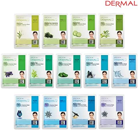 DERMAL 13 Collagen Essence Full Face Facial Mask Sheet Green Combo Pack- Skin Moisturizing & Soothing, The Ultimate Supreme Collection for Every Skin Condition Day to Day Skin Concerns.