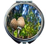 Rikki Knight Pair Of Parasol Mushrooms With Blue Green Background Design Round Compact Mirror