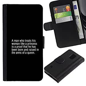 Billetera de Cuero Caso Titular de la tarjeta Carcasa Funda para Samsung Galaxy S5 V SM-G900 / queen fashion man text quote truth / STRONG