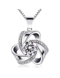 B.Catcher Women Jewelry Gift Necklaces 925 Sterling Silver Cubic Zirconia Knot Pendant,18inch