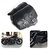 1 Pair Motorcycle Side Saddle Waterproof PU Leather Motorbike Side Luggage Bag Black