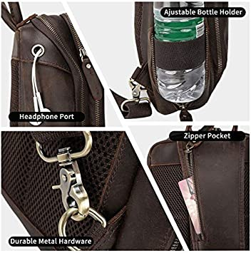 Black Texbo Mens Genuine Cowhide Leather Sling Crossbody Chest Bag Casual Shoulder Travel Hiking Daypacks with YKK Zippers