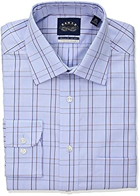 Eagle Men's Non Iron Stretch Collar Regular Fit Glen Plaid Dress Shirt