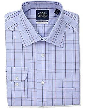 Men's Non Iron Stretch Collar Regular Fit Glen Plaid Dress Shirt,