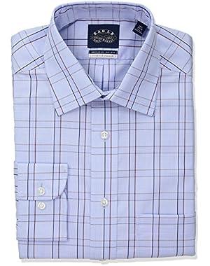 Men's Non Iron Stretch Collar Regular Fit Glen Plaid Dress Shirt,