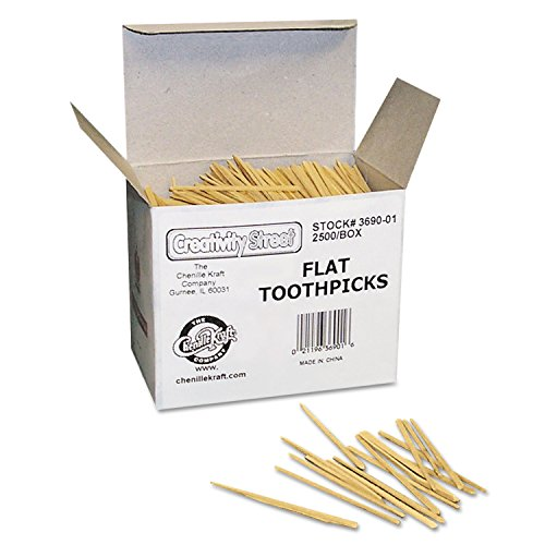 Chenille Kraft Company Natural - Chenille Kraft 369001 Flat Wood Toothpicks, Natural Wood Color, 2500/Pack