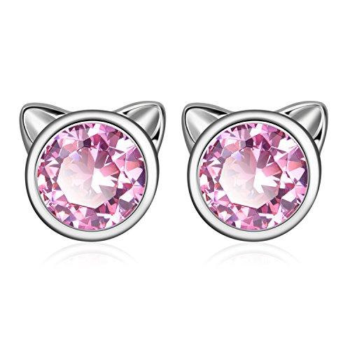 YFN Cat Stud Earrings 925 Sterling Silver Cubic Zirconial Ear Stud Earrings for Girls (October-Light Rose)