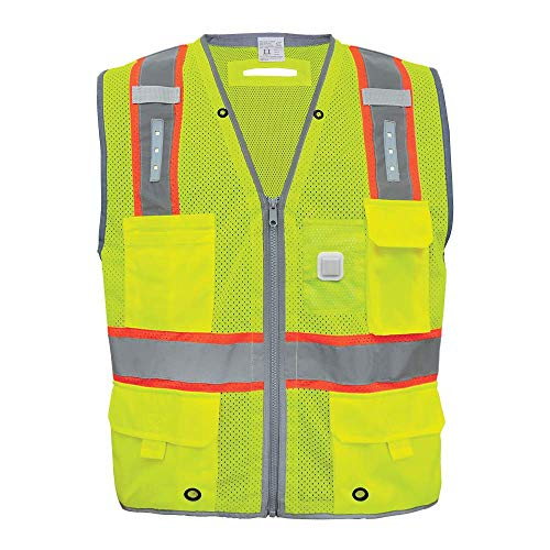 GLO-15LED - FrogWear HV - Premium High-Visibility Surveyors LED Safety Vest - X-Large