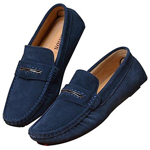 Shenn Heren Slip Op Band Casual Suede Lederen Instappers Schoenen / Flats Marineblauw