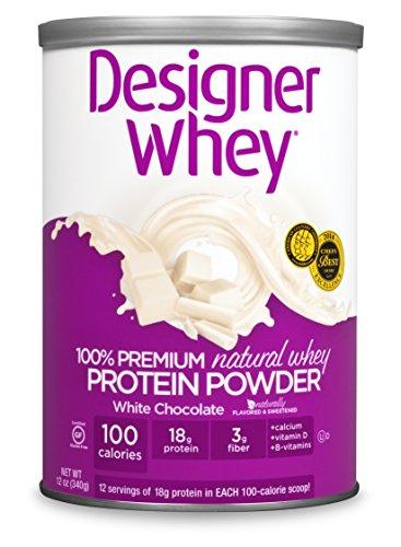 DESIGNER WHEY 100% Premium Whey Protein Powder, chocolat blanc, 12 onces traîneau
