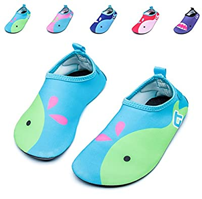 Giotto Kids Swim Water Shoes Quick Dry Non-Slip for Boys & Girls, Green, 20-21