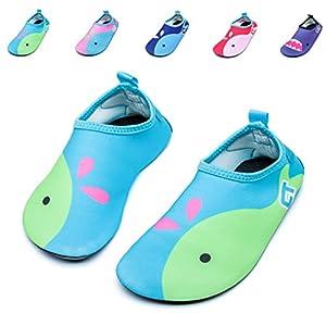 Fidus Kids Swim Water Shoes Barefoot Quick-Dry Skin Aqua Socks for Beach Pool Surf Yoga, A-Green, 26-27