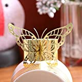 Gold or Silver Laser Cut Paper Butterfly Napkin Rings Wedding Party Table Decoration - 24 Pieces (Gold)