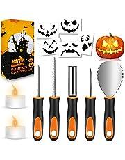 FATHABY Halloween pumpa snideri set, premium rostfritt stål, halloweendekoration, stenciler, 2 LED-ljus, 13-delar professionell pumpa-skärtillbehör med robust kniv för barn och vuxna