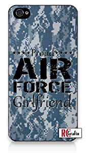 Proud Air Force Girlfriend Digital Blue Camo Military Camouflage iPhone 4 Quality Hard Snap On Case for iPhone 4 4S 4G - AT&T Sprint Verizon - White Case Cover