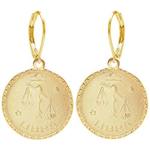 Horoscope Coin - 100% Nickel Free Mystical Sun Sign Horoscope Zodiac Coin Earrings, Libra Gold Tone in Gold Tone
