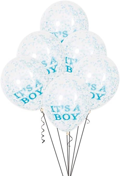 Amazon Com 12 It S A Boy Blue Confetti Balloons 6ct Kitchen