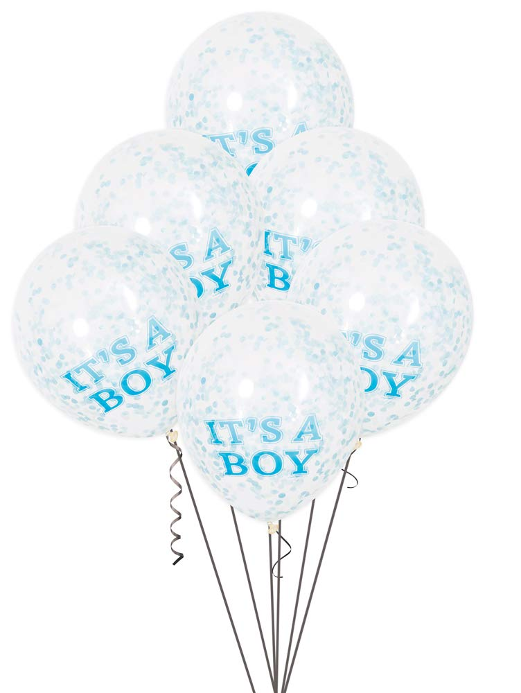 12 It's A Boy Blue Confetti Balloons 6ct
