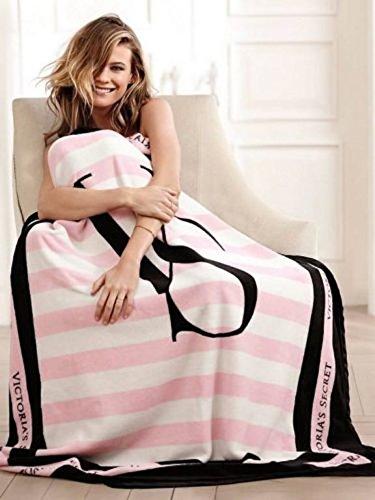 Price comparison product image Victoria's Secret Black and Pink Striped Blanket