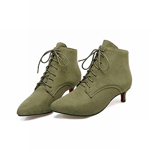 Mee Shoes Damen Niedrig spitz Schnürsenkel Stiefel Grün