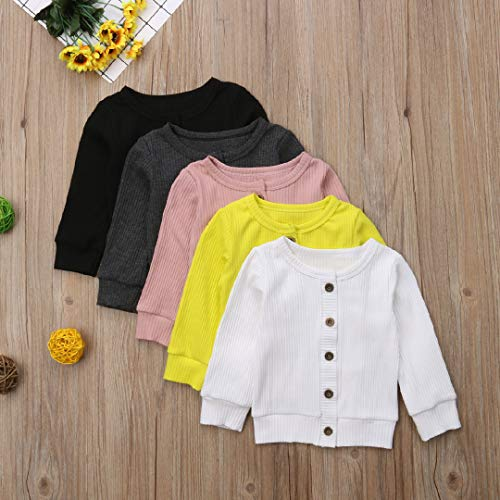 Luckinbaby Newborn Baby Boys Girls Knit Cardigan Sweater Unisex Baby Clothes Infant Button-Down Cotton Sweater
