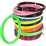 3D Pen Filament Refills with FREE fun Glow-in-the-Dark Colors - 15 Brilliant Colors Total - 1.75mm ABS 300 feet total , 20 Feet Each - For 3D Pens and 3D Printers