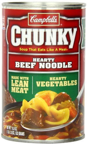 Campbell's Chunky Hearty Beef Noodle Soup, 18.8 Ounce Can