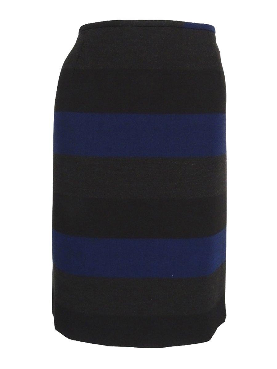 Tahari ASL Womens Petites Striped Knee Length Pencil Skirt Blue 12P