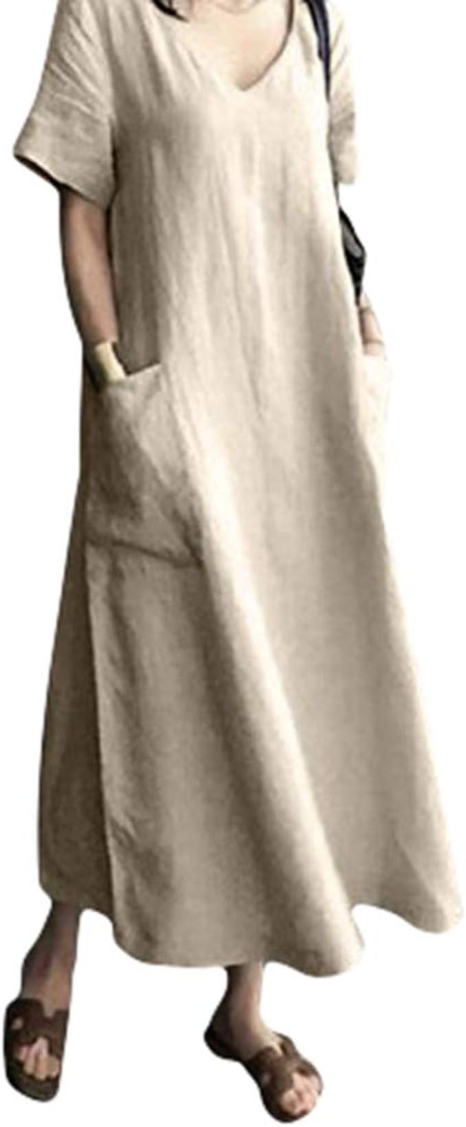 Mujeres Maxi Vestido Verano Sexy Cuello en V Vestido de Algodón y Lino Hippie Bohemia Vestido de Playa Suelto Comodo Vestido Largo Suave Vestido Casual: Amazon.es: Ropa y accesorios