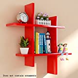 ALUS- Rectangular Wood-based Panels Floating Shelf/wall Shelves/Plant Stand/bookshelf, Wall Hanging Backdrop Decoration Rack Wall Frame ( Color : Red )