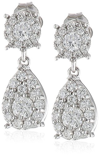 14k White Gold Cluster Teardrop Diamond Drop Earrings (3/4cttw, H-I Color, I1-I2 Clarity)
