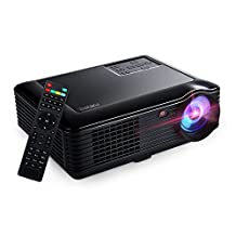 Projector, 4000 Lumens Brightness Home Projector HD 1080P 1280 x 800 Pixels Multimedia LCD Projector up to 160 inches with HDMI VGA USB Cinema Projector, Black (SV228-Black) (SV228-Black)
