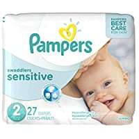 Pampers Swaddlers Sensitive Disposable Diapers, Size 2, Jumbo Pack, 27 ct