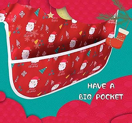 Christmas Bib 6-36 Monate - 2er-Pack von Little Dimsum /… Lang/ärmlige Babyl/ätzchen F/ütterungsl/ätzchen Wasserdichter Overall Verstellbarer Verschluss f/ür Babys Kleinkinder mit gro/ßer Tasche