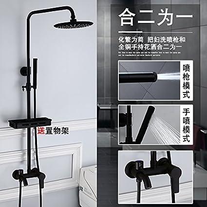 Daadi 2-en-1 black boost ducha baño ducha negro Dumb-antiguas llaves