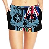 Fiji Flag Sugar Skull Women's Fashion Board/Beach Shorts Sports Runnning Beachwear Pockets