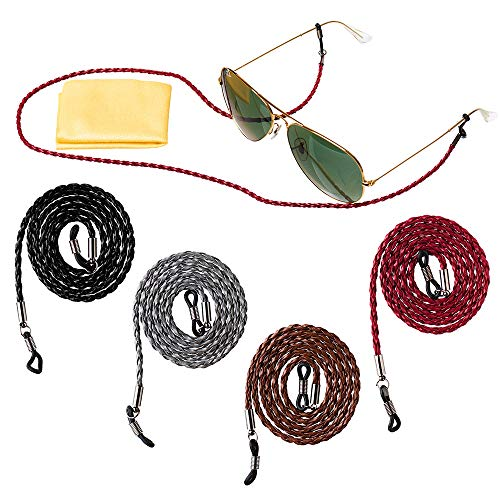 Eyeglass strap, 27 in Leather Eyewear Retainer, Sunglasses String Holder Chain, Universal Glasses Cord - 4 Pack