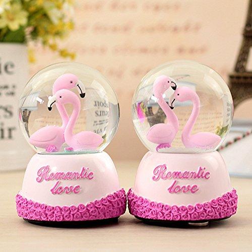 (Lihin Surprised Funny Gift Wedding Room Decoration Flamingos Crystal Ball Snowflacks Rotating Music Box)