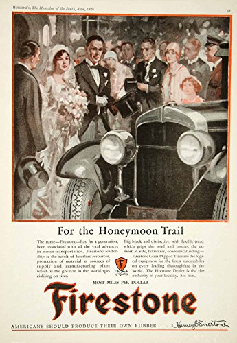 1928 Ad Firestone Gum Dipped Rubber Tires Wedding Day Drive Car Automobile YHM3 - Original Print Ad from PeriodPaper LLC-Collectible Original Print Archive