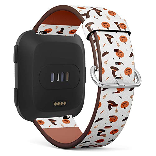 Compatible with Fitbit Versa - Quick Release Leather Wristband Bracelet Replacement Accessory Band - Halloween Pumpkin Witch Hat