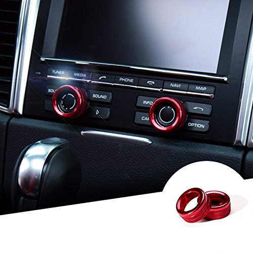 CROTRIM Red Centre Console Sound Volume Knob Cover 2pcs for Porsche Cayenne 2011-2016