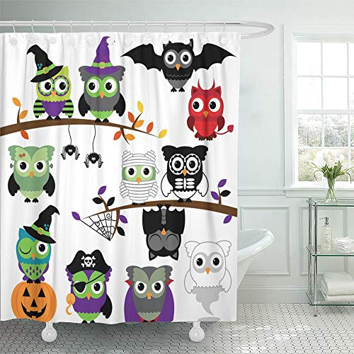 Emvency Decorative Shower Curtain Mask Collection of Spooky Halloween Owls Monster Animal Zombie Fall Witch Ghost 72