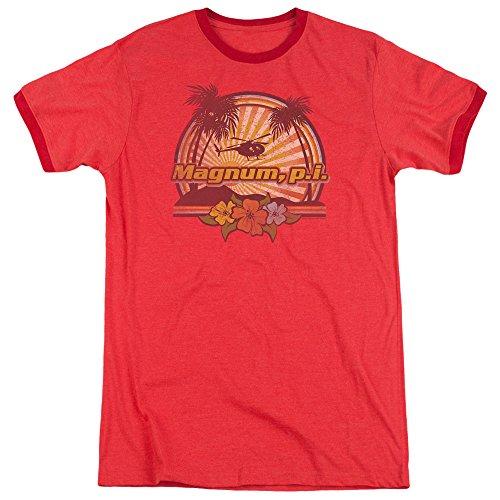 Magnum Pi Hawaiian Sunset Mens Adult Heather Ringer Shirt Red - Ringer Pi