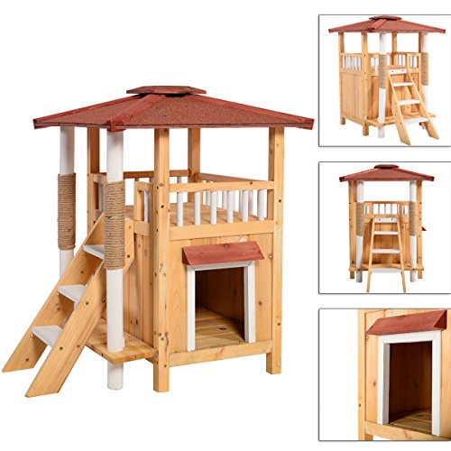 Indoor Cat House Outdoor Pet Shelter Roof Condo Wood Step...
