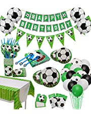 Soccer Party Supplies Sports Theme Party Pack Including Plates, Cups, Napkins, Spoons, Knives, Forks, Invitation Cards, Tablecloth, Banner, Gift Bags and Balloons 174Pcs, Serves 12