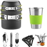Awroutdoor Utensilios Cocina Camping Kit con Estufa Trekking, 1.2 L Ollas Camping y 0.6 L Sartén, Taza de Acero…