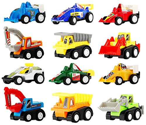 Pull Back Vehicles - Assorted Construction Vehicles and Racer Cars Toy, Die Cast Vehicle Truck Mini Car Toy Play Set For Kids Birthday Game, Party Favors, Classrooms Rewards (12 Pcs (Construction Birthday Party Ideas)