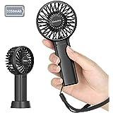 Mini Pocket Fan, EasyAcc Portable fan 3350mAh 5.5-17 Hours 3 Speeds Strong Winds Small Fan with Detachable Base and Lanyard Personal Cooling Fan for Kids The Elderly Women Outdoors Travel Fan - Black