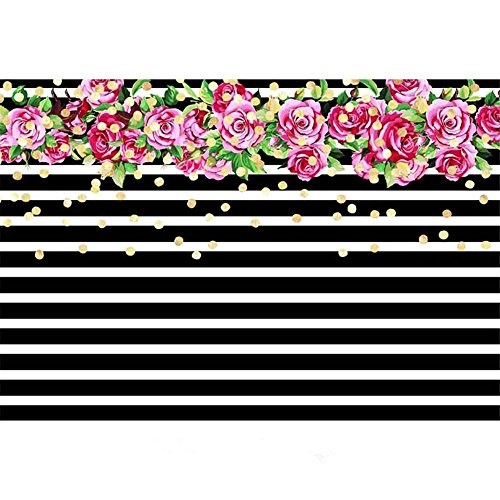 ML Photography Background 7x5 Black and White Stripes Pink Flowers Birthday Banner for Adult Customized -